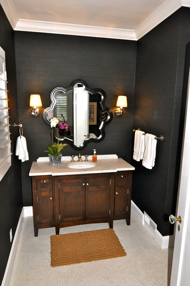 Removing Wallpaper Border for a Contemporary Bathroom with a Vanity and Vintage Modern Living by Kerrie L. Kelly