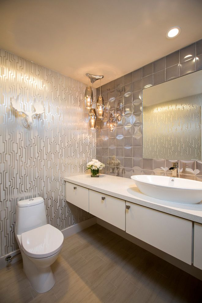 Removing Wallpaper Border for a Contemporary Powder Room with a Metallic Wallpaper and Glamorous Powder Room   La Quinta by Design Vision Studio
