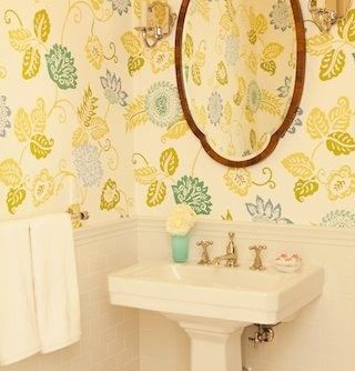 Removing Wallpaper Border for a Transitional Powder Room with a Powder Room and Beverly Hills by Elizabeth Dinkel