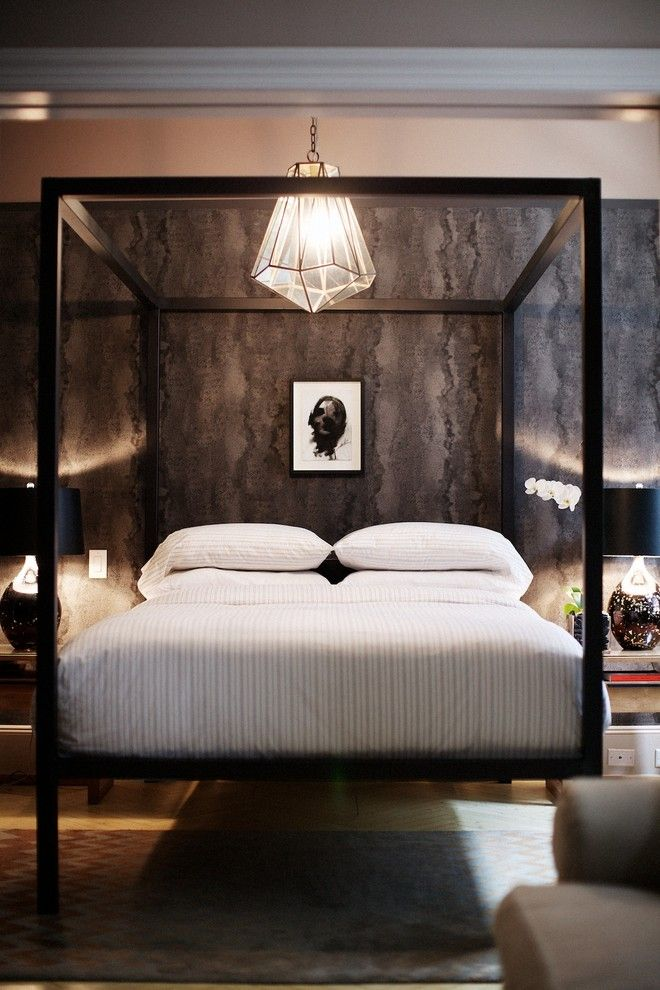 Removing Wallpaper Glue for a Contemporary Bedroom with a Masculine and Music to Their Ears by Id 810 Design Group