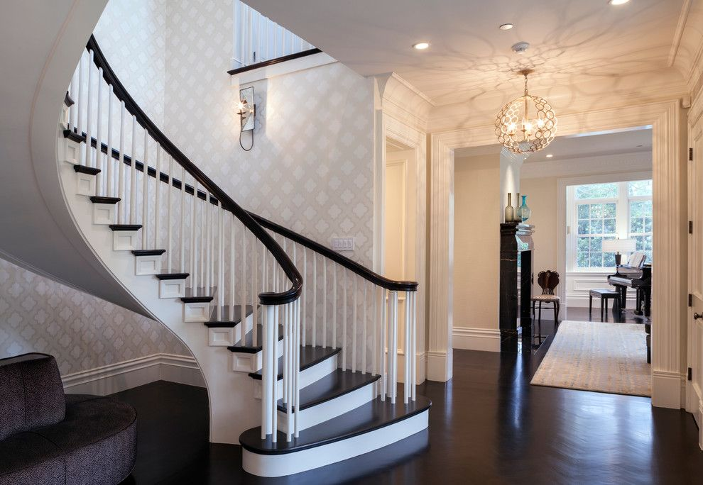 Removing Wallpaper Glue for a Contemporary Staircase with a Stained Railing and Contemporary Staircase by Mjconstruction.com