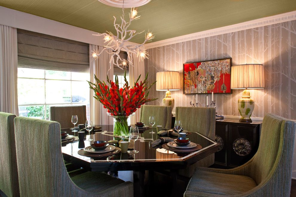 Removing Wallpaper Glue for a Transitional Dining Room with a Table Setting and Hollywood Residence by Elizabeth Gordon