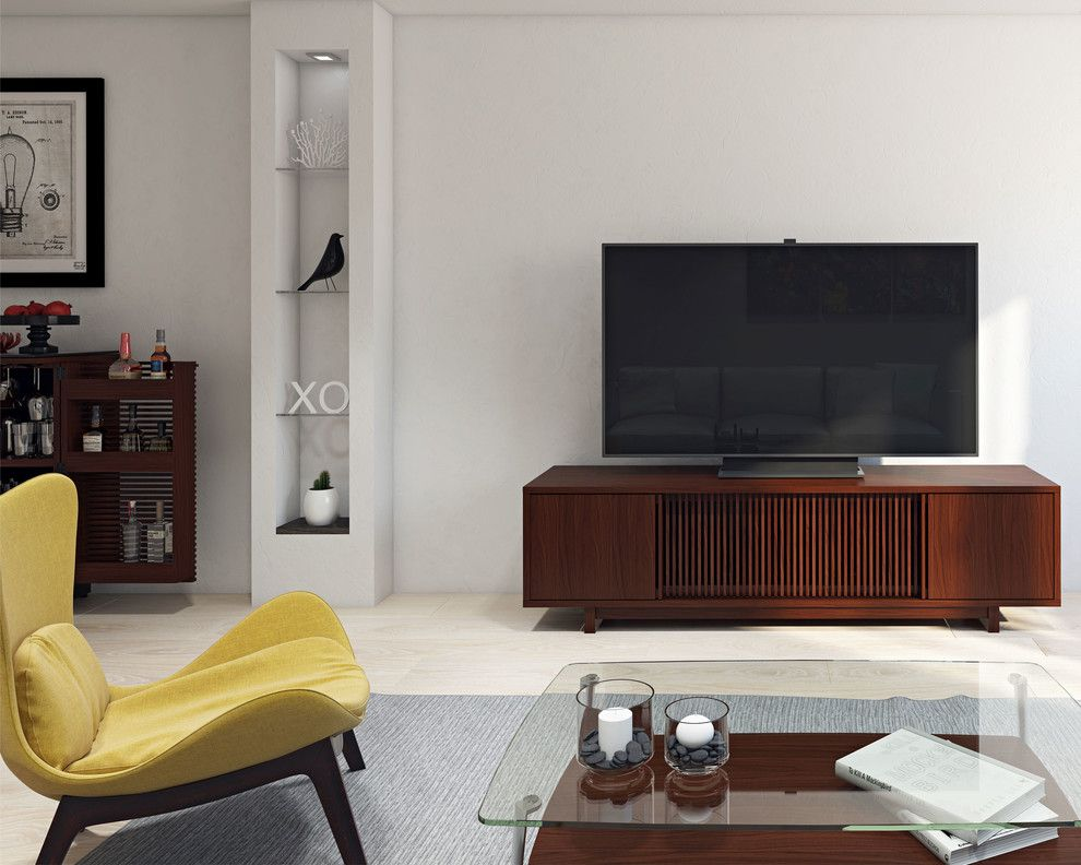 Rendition Homes for a Contemporary Living Room with a Gray Rug and Bdi Furniture by Bdi Furniture