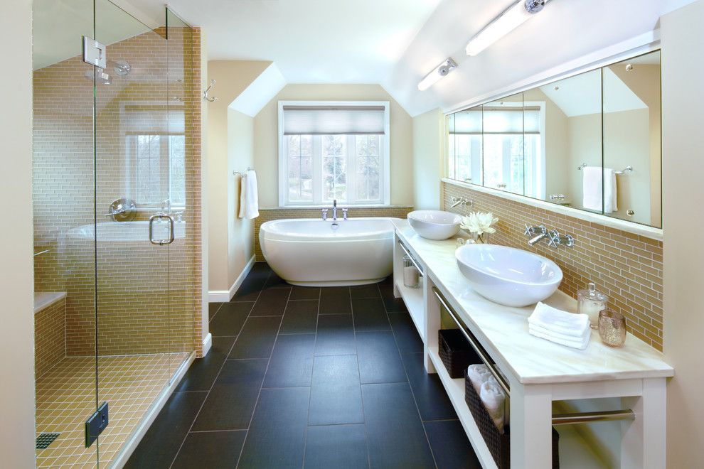 Renovator for a Traditional Bathroom with a Mirrors and Modern Classic by Digiacomo Homes & Renovation