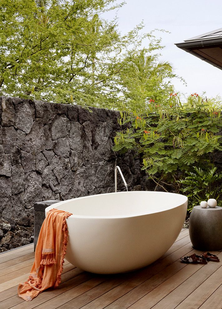 Replace Bathtub Faucet for a Tropical Bathroom with a Outdoor Bathtub and Filter House by ZAK Architecture