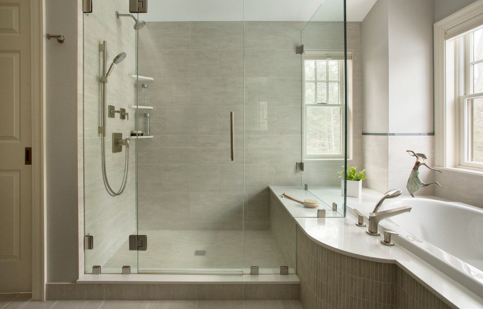 Replacing Shower Faucet for a Contemporary Bathroom with a Benjamine Moore Horizon and 1939 Brick Colonial by Thomas Buckborough & Associates
