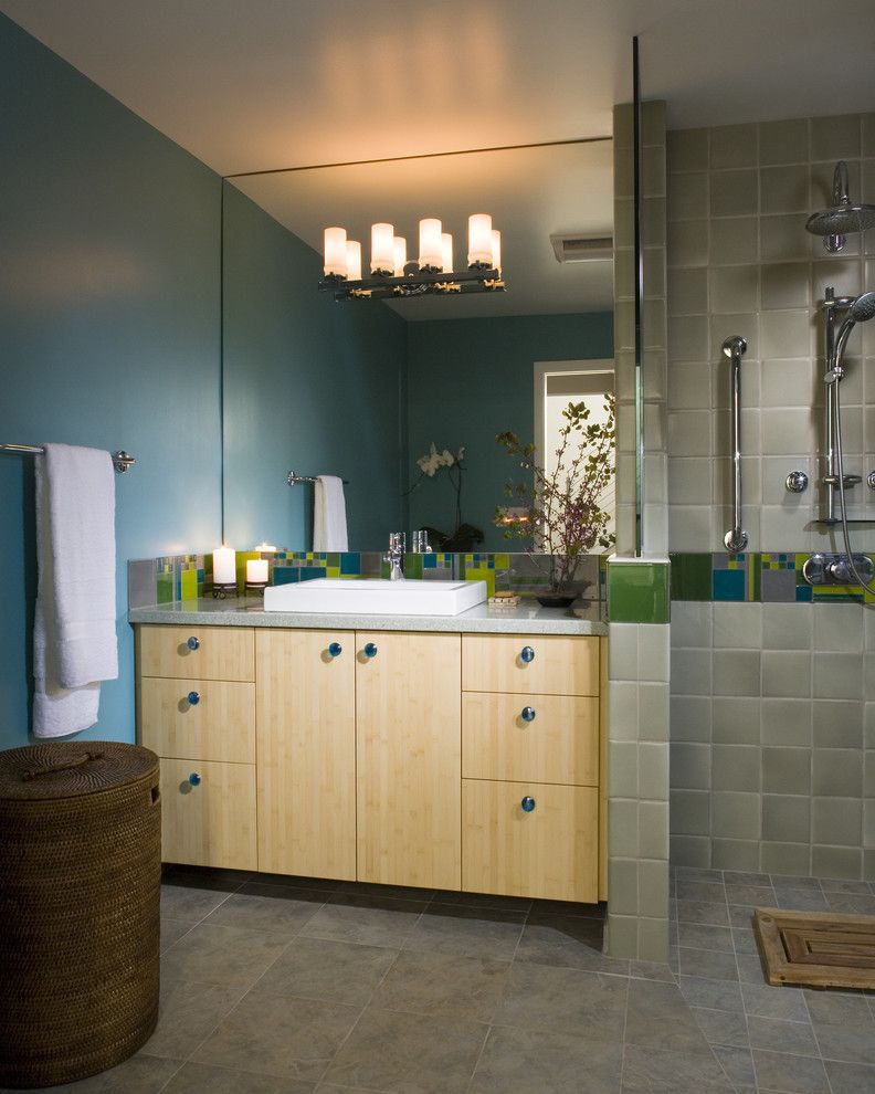 Replacing Shower Faucet for a Contemporary Bathroom with a Curbless and Bathroom by Harrell Remodeling, Inc.
