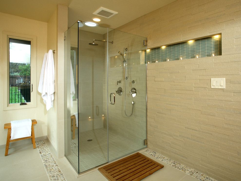 Replacing Shower Faucet for a Contemporary Bathroom with a Floor Lighting and Alhambra Valley Residence by Altera Design & Remodeling, Inc.