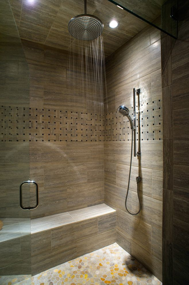 Replacing Shower Faucet for a Contemporary Bathroom with a Hand Held Shower and Caldera Rustic Modern with a Twist of Industrial by Cherie Myrick Interiors