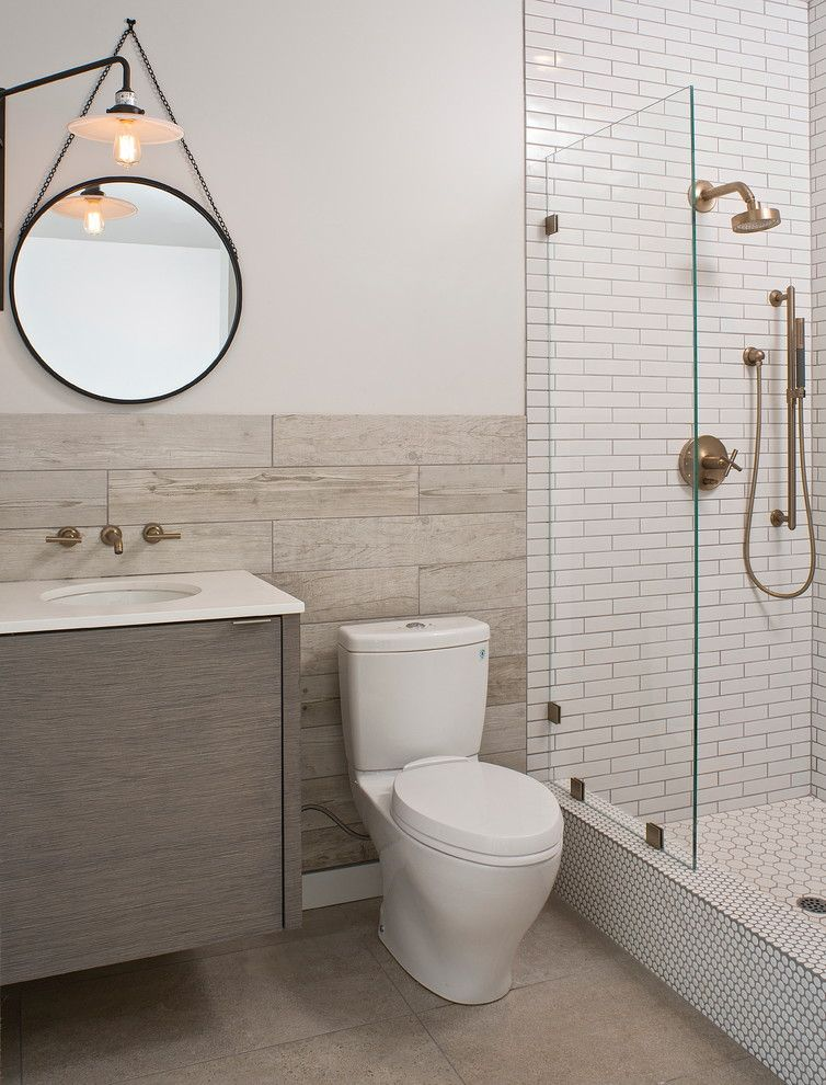 Replacing Shower Faucet for a Contemporary Bathroom with a Mixed Tile and Mar Vista Modern by Shelby Wood Design