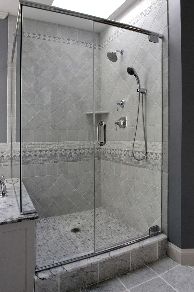 Replacing Shower Faucet for a Traditional Bathroom with a Tile Design and Master Bathroom by Mitchell Construction Group