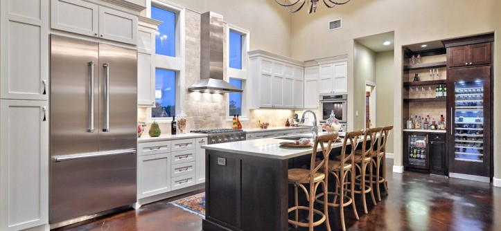 Restoration Hardware Houston for a Contemporary Kitchen with a High Ceiling and Thermador by Thermador Home Appliances