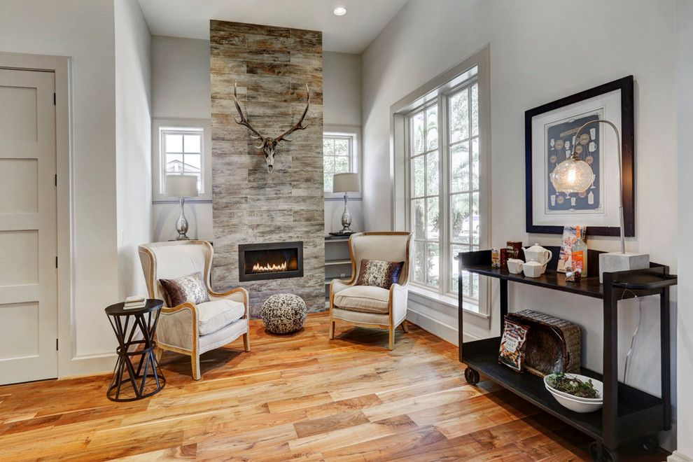 Restoration Hardware Houston for a Transitional Living Room with a Wood Flooring and Gramercy, New Construction by Eric Coan & Associates