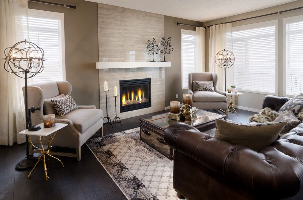 Restoration Hardware Nyc for a Contemporary Living Room with a Dark Wood Floor and the Sierra Showhome (Calgary, Alberta) by Morrison Homes