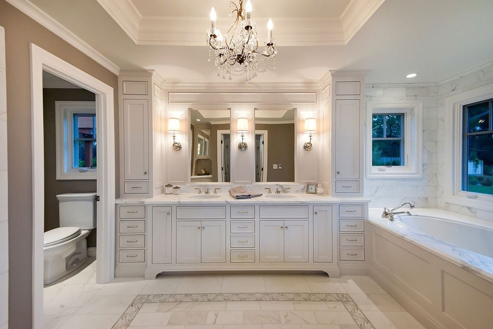 Restoration Hardware Nyc for a Traditional Bathroom with a Tiled Floor and Ranch Remodel by JCA ARCHITECTS