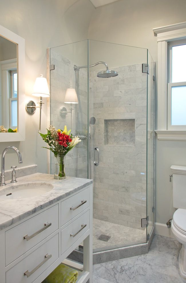 Restoration Hardware Nyc for a Transitional Bathroom with a Glass Shower Door and Filbert Street by Studio G+S Architects