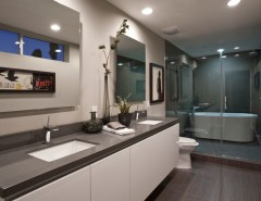 Restoration Hardware Portland for a Modern Bathroom with a Frameless Mirror and Hansgrohe by Hansgrohe USA