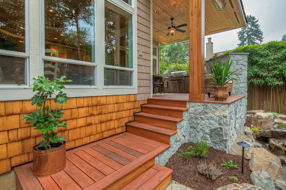 Restoration Hardware Portland for a Traditional Porch with a Tigerwood Deck and Cimral by Paradise Restored Landscaping & Exterior Design