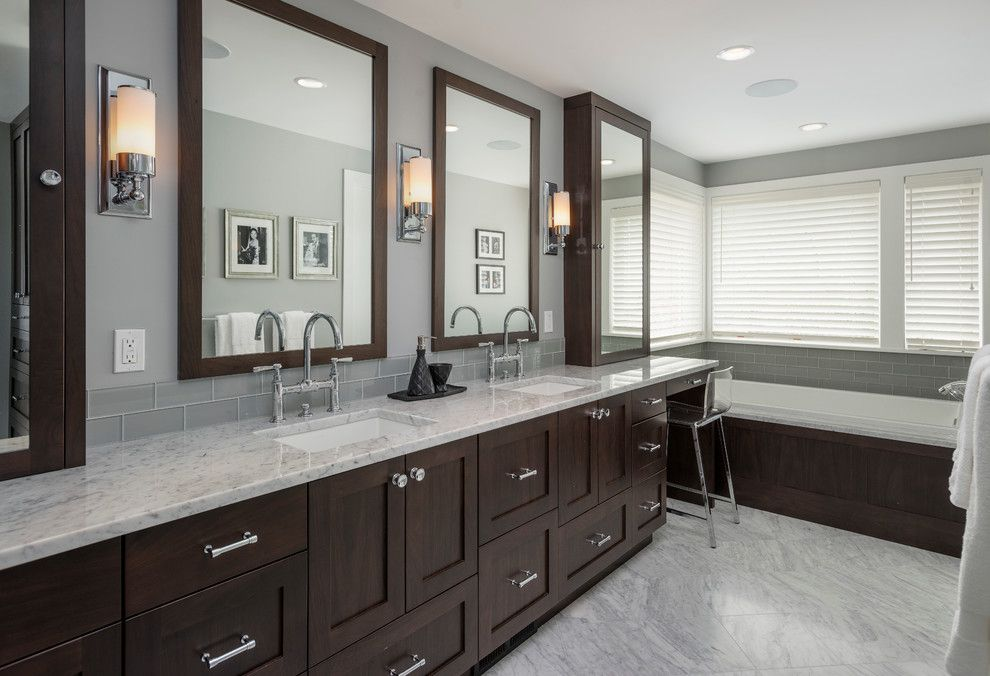 Restorations Hardware for a Contemporary Bathroom with a Blinds and Dyna Bathrooms by Dyna Contracting