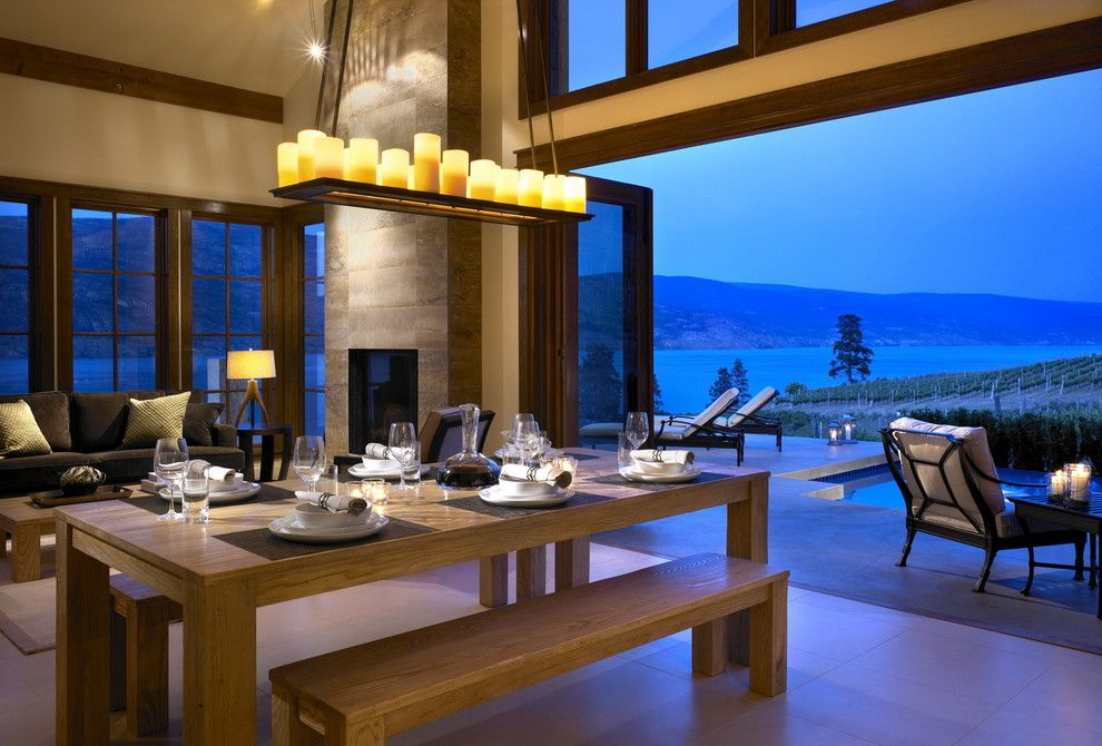 Restorations Hardware for a Contemporary Dining Room with a Waterfront and While at Chil Design Group by Claudia Leccacorvi