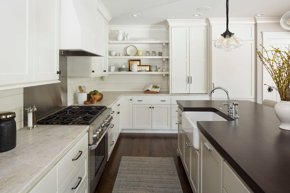 Restorations Hardware for a Farmhouse Kitchen with a Rug Runner and Modern Farmhouse by City Homes Design and Build, Llc