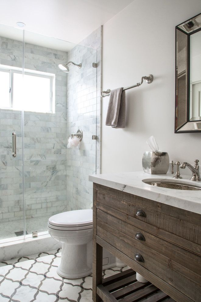 Restorations Hardware for a Transitional Bathroom with a Comstock Hills and Comstock Hills   Total Renovation, Spanish Transitional by Dana Benson Construction