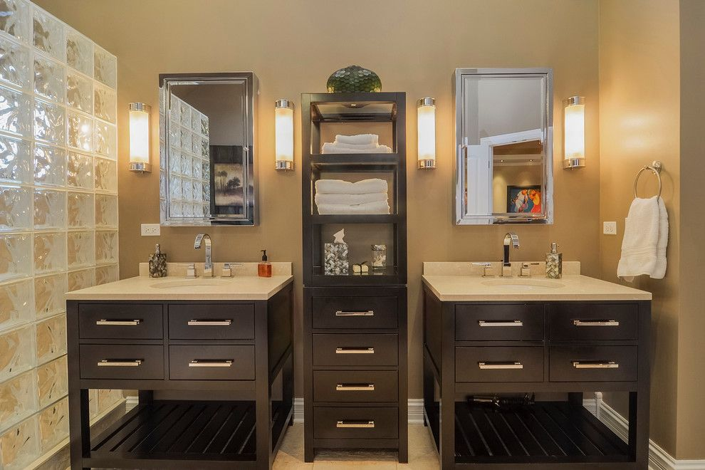 Restorations Hardware for a Transitional Bathroom with a Khaki Wall and Vishal & Shefali's Remodel Project by Sebring Services