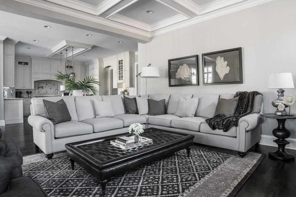 Reupholster a Couch for a Traditional Living Room with a Tufted and Beautiful Gray by Kristin Petro Interiors, Inc.