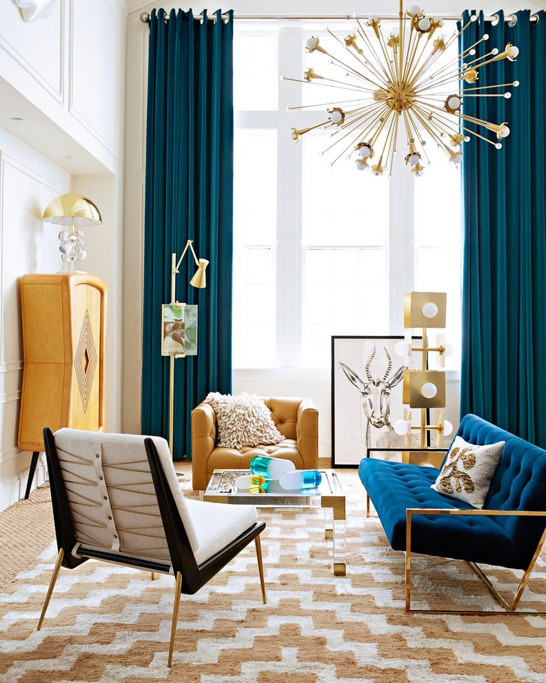 Revco for a Contemporary Living Room with a White and Orange Carpet and Living Room by Jonathan Adler