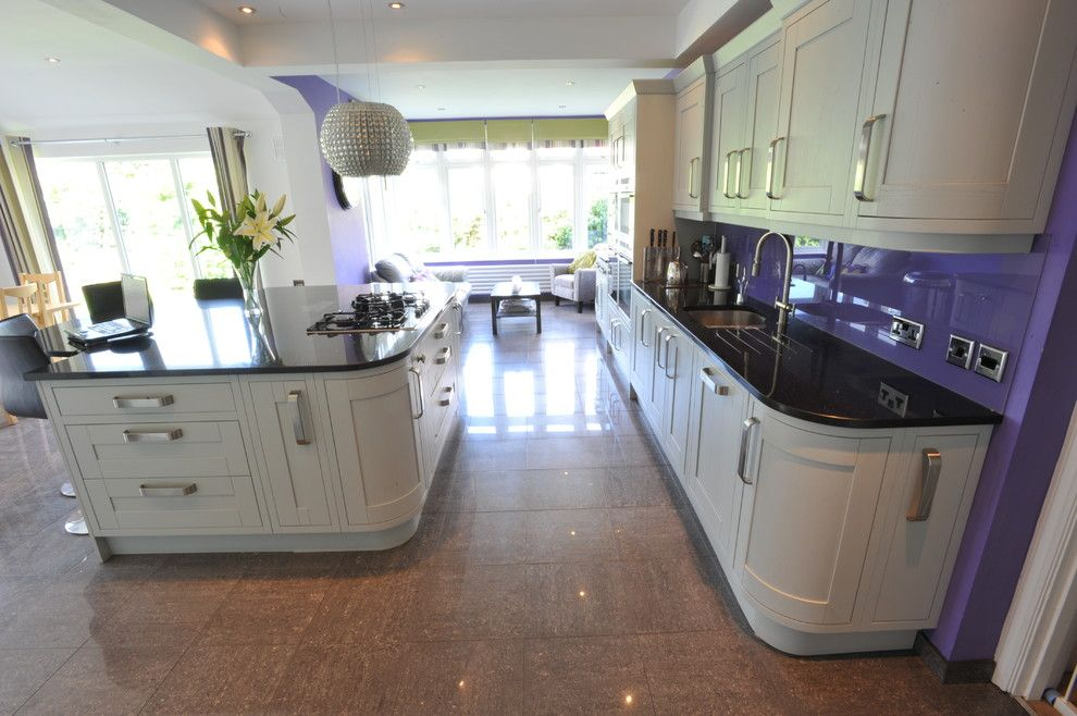 Rewiring a House for a Contemporary Kitchen with a Green and Purple Kitchen by Shirley Goodgroves