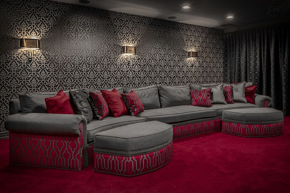 Rich Ford Albuquerque for a Contemporary Home Theater with a Theater Room and Modern Mediterranean by Raegan Ford Interior Design