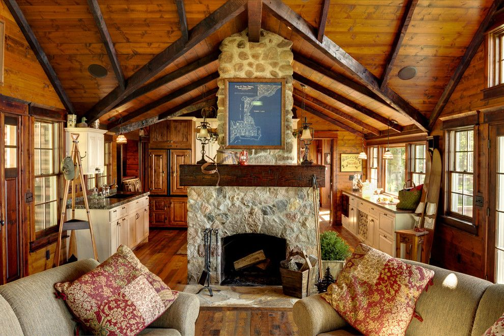 Richland Chambers Lake for a Rustic Living Room with a Wood Ceilings and Woman Lake by Michelle Fries, Bede Design, Llc