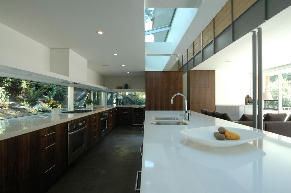 Ricks Electric for a Contemporary Kitchen with a Skylight and Bonetti Residence by Battersbyhowat Architects
