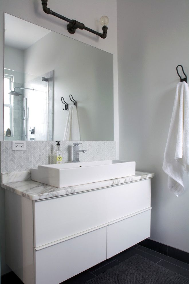 Robie House Chicago for a Industrial Bathroom with a My Houzz and My Houzz: Eclectic Industrial Style in a Charming Chicago Home by Kayla Pearson