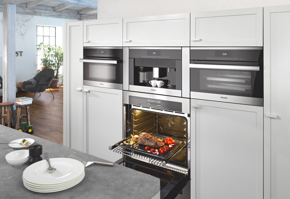 Rochester Appliance for a Contemporary Kitchen with a Gray Countertop and Miele by Miele Appliance Inc