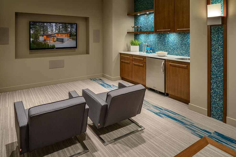 Rocky Mount Theater for a Contemporary Home Theater with a Stainless Steel and Hart Road by Christopher Developments
