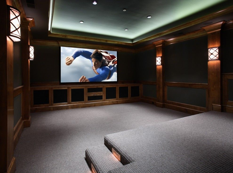 Rocky Mount Theater for a Traditional Home Theater with a Movie Theater and Atherton, California Luxury Home by Markay Johnson Construction by Markay Johnson Construction