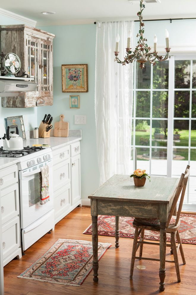 Rodda Paint for a Shabby Chic Style Kitchen with a Renovation and Cottage in Historic Wilmington by Andrew Sherman Photography