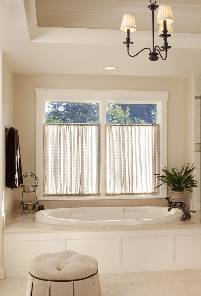 Rodda Paint for a Traditional Bathroom with a Wood Tub Surround and House in Sonoma by Julie Williams Design