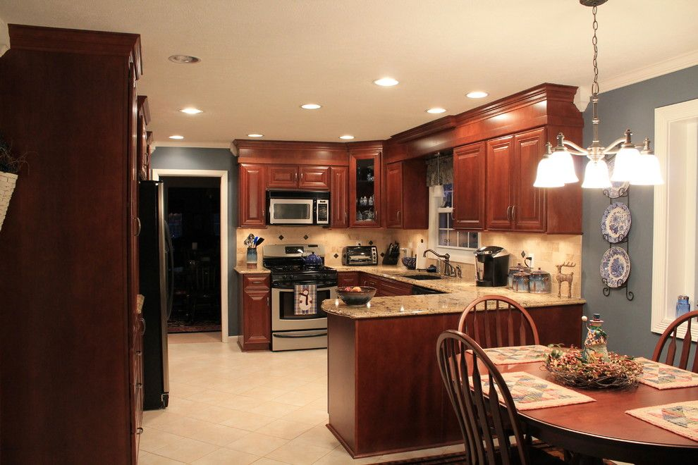 Rodda Paint for a Traditional Kitchen with a Traditional and Cherry with Cafe Stain by Innovations by Vp