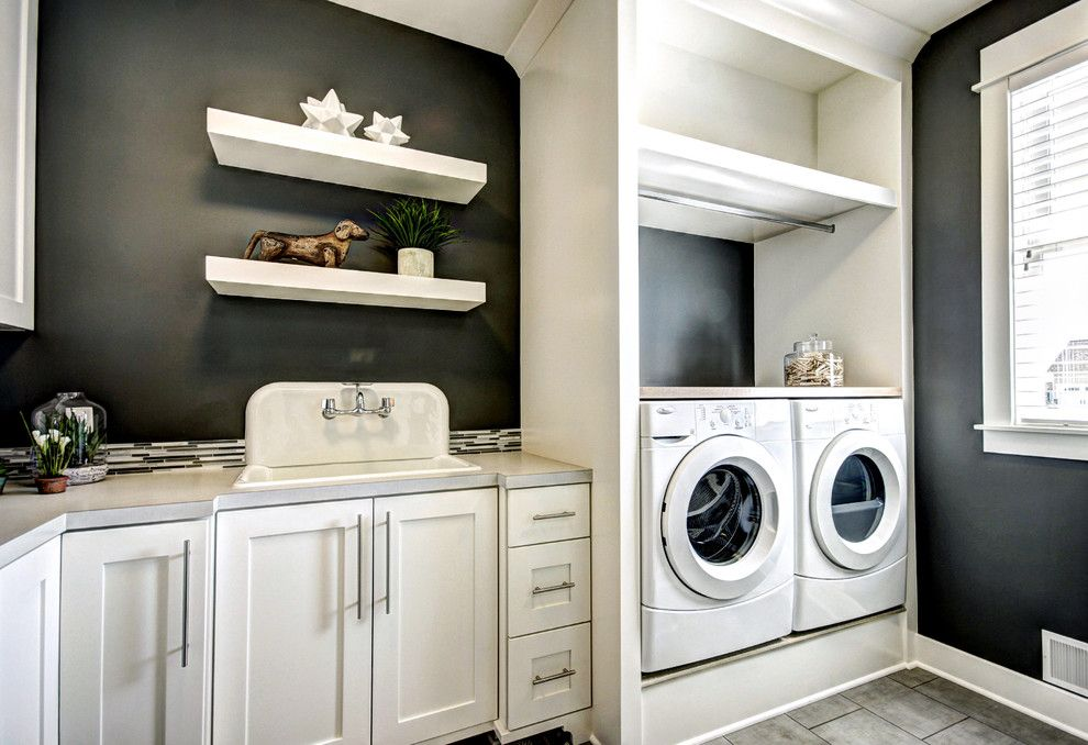 Rodda Paint for a Traditional Laundry Room with a Tile Floor and Georgetown Shores by Dwellings