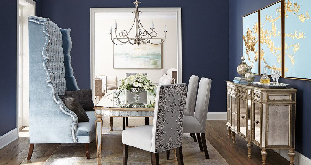 Rodda Paint for a Transitional Dining Room with a Mirrored Buffet and Horchow by Horchow