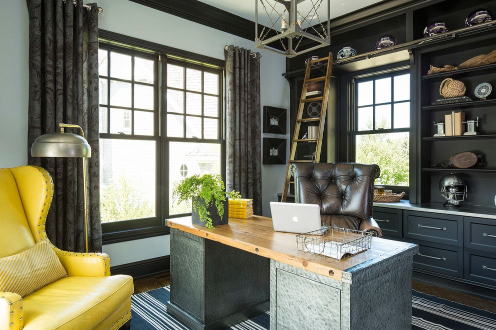 Rodda Paint for a Transitional Home Office with a Corner and Minnesota Residence by Martha O'hara Interiors