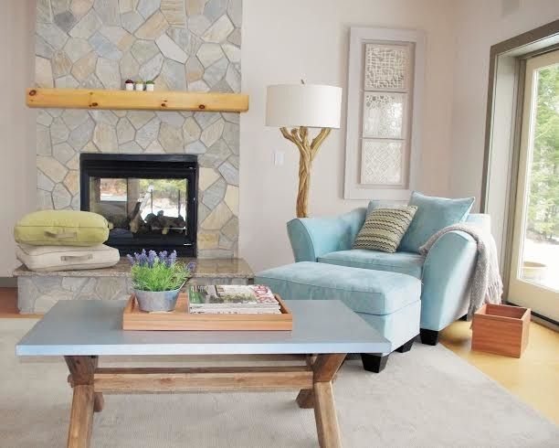 Roofs or Rooves for a Contemporary Living Room with a Live Edge Wood Floor Lamp and Rensselaer County Lake House Living Room by J. Cashier Interiors