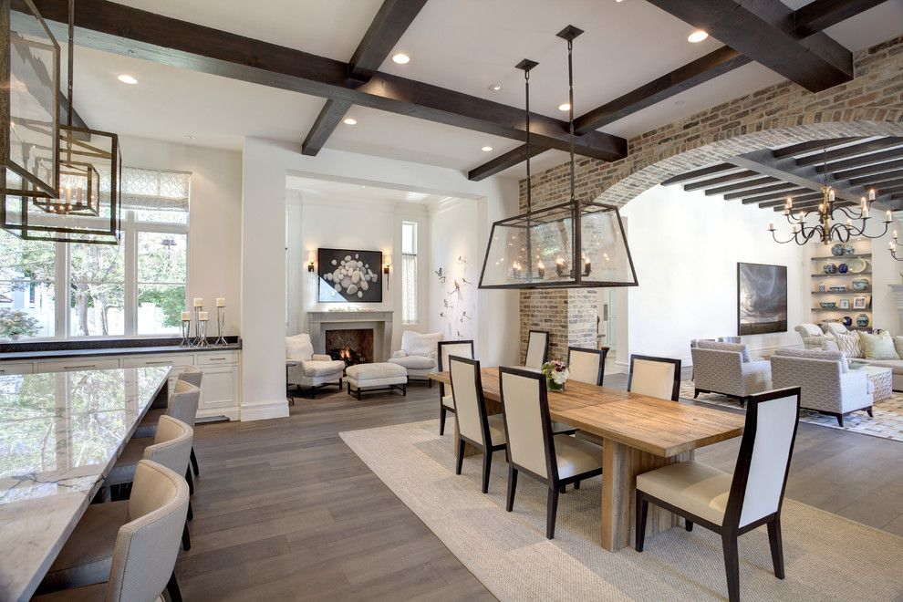 Roofs or Rooves for a Transitional Dining Room with a Dining Table Light and Woodland Estate by Phillip Jennings Custom Homes