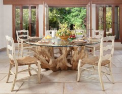 Round Table Napa for a Contemporary Dining Room with a Centerpiece and Dining Room by Elad Gonen
