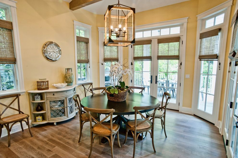 Round Table Napa for a Contemporary Dining Room with a Pendant Light and Breezy Brentwood by Jill Wolff Interior Design