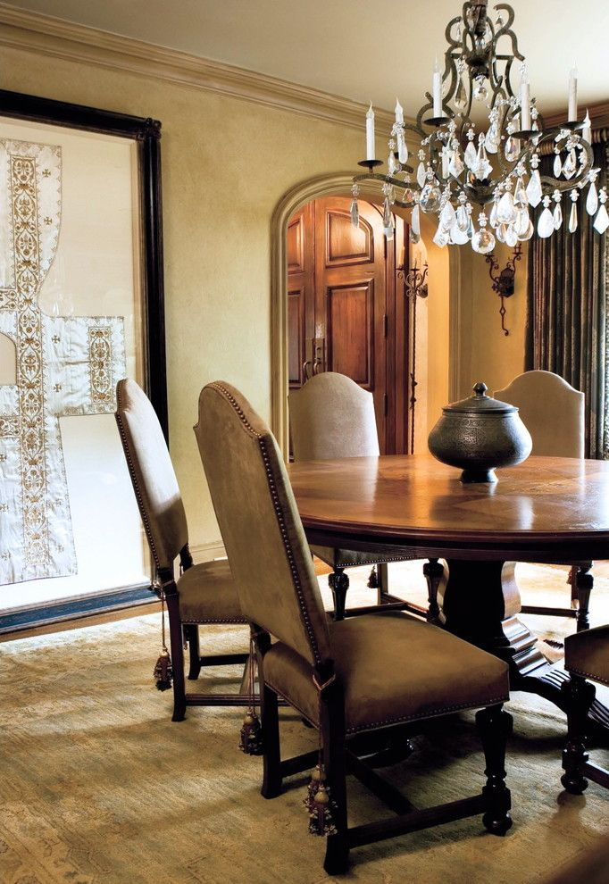 Round Table Napa for a Mediterranean Dining Room with a Upholstered Dining Chairs and Buckhead Historic Home by Joel Kelly Design