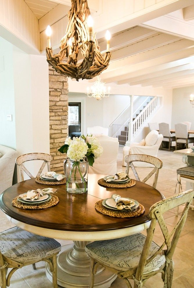 Round Table Napa for a Shabby Chic Style Dining Room with a Rustic Dining Table and Lake Austin Remodel by Robin Gonzales Interiors
