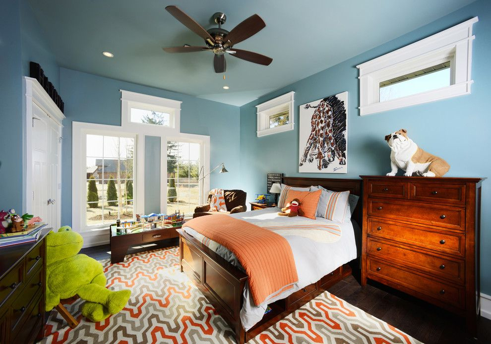 Roys Furniture for a Traditional Kids with a Orange Bedding and Ladue Modern Whole House Build by Nathan Taylor for Obelisk Home